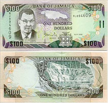 100 Hundred Jamaican Dollar Bill