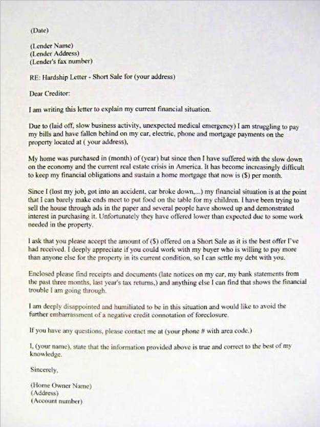 Sample Hardship Letter Mortgage Bank Foreclosure Short Sale