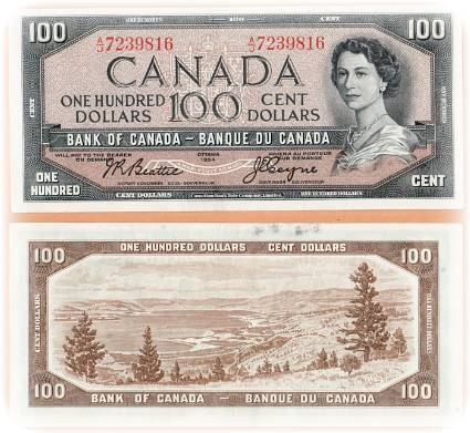 100 Canadian Dollar Bill - 1954